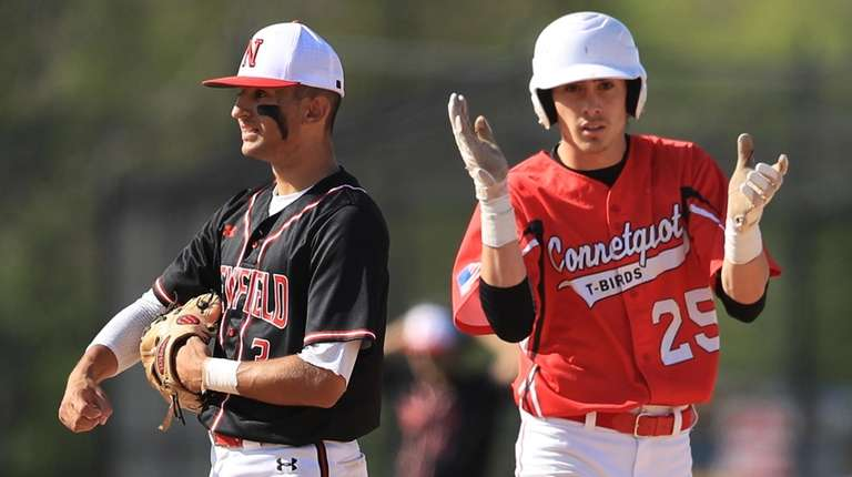 Connetquot's Alex Ungar celebrates his RBI double while