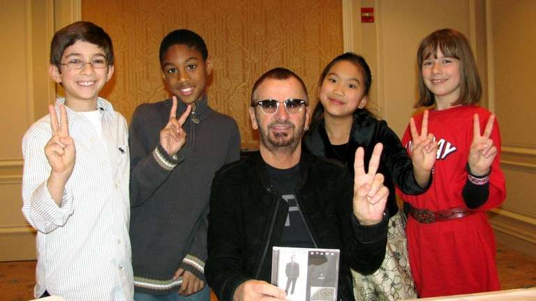 Ringo Starr with Kidsday reporters, from left, Paul