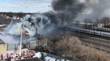 A March 16 fire near LIRR tracks in