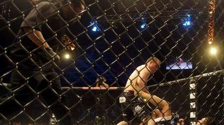 Matt Hughes, left, attacks Renzo Gracie during their