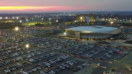 An aerial view of the Nassau Coliseum on