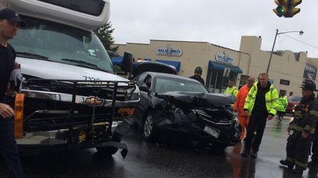 Police said a crash involving a bus and