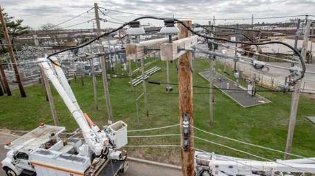 PSEG trucks and power lines at the training
