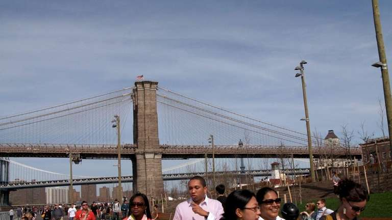 Walkers stroll along the paths of Pier 1,