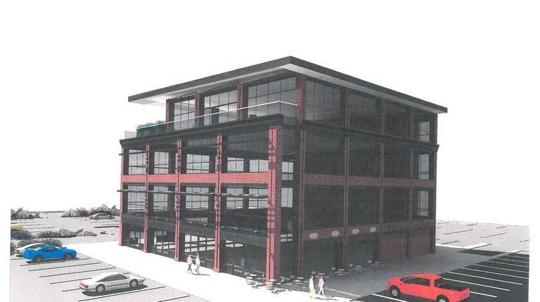 A rendering shows an office and restaurant building