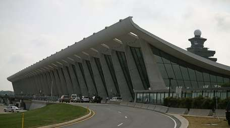 The main terminal at Dulles International Airport is