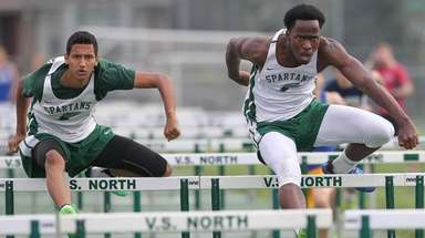 Valley Stream North's Matthew Foster, left, beats teammate