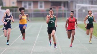 Valley Stream North's Tori Daniels wins the 200-meter