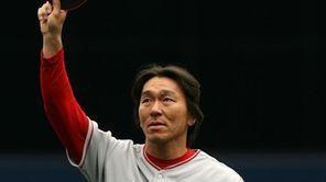 Hideki Matsui #55 of the Los Angeles Angels
