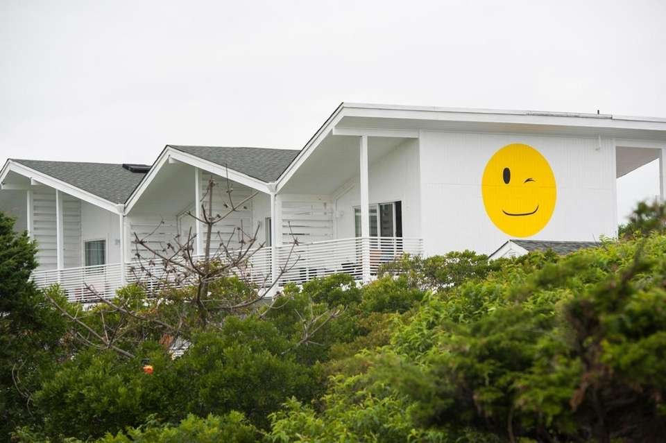 A winking smiley face on the side of