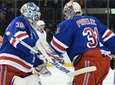 Rangers goaltender Henrik Lundqvist skates in to replace