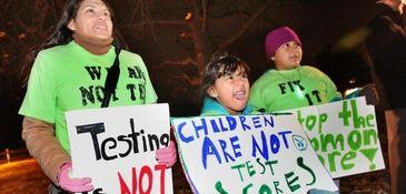 Opponents of standardized testing demonstrate in East Setauket