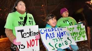 Opponents of standardized testing demonstrate in East Setauket