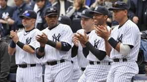 Yankeees' Nick Swisher, Robinson Cano, Nick Johnson, Mariano