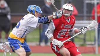 Connetquot's George Wichelns (27) moves the ball while