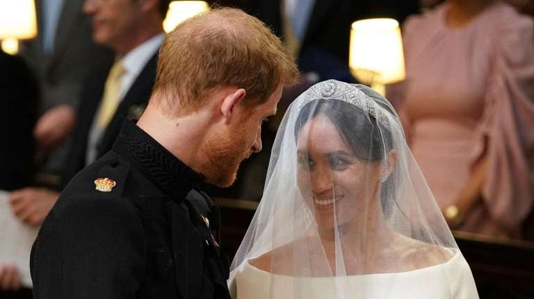 Prince Harry and Meghan Markle during their wedding