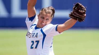 Hofstra's Sophie Dandola (27) delivers a pitch during