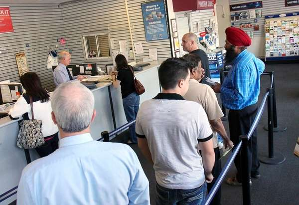 Folks lined up at the Post Office at