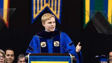 Ronan Farrow speaks at Hofstra University's commencement on