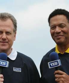 Commentators Michael Kay (left) and Ken Singleton during