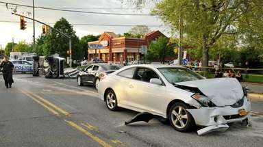 Five people were hurt in a crash Sunday