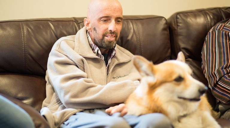 Former NYPD Officer Scott Blackshaw with his dog,