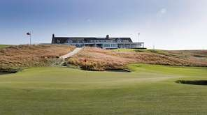 A view of the clubhouse with the ninth