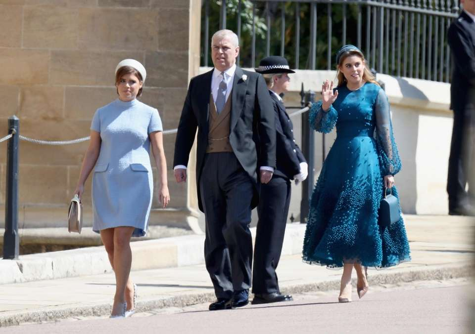 Princess Eugenie, Prince Andrew and Princess Beatrice arrive