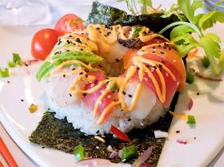 """Popular sushi dishes like this """"doughnut"""" were added"""