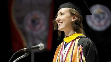 Valedictorian Theresa Mary Bissex addresses the Class of