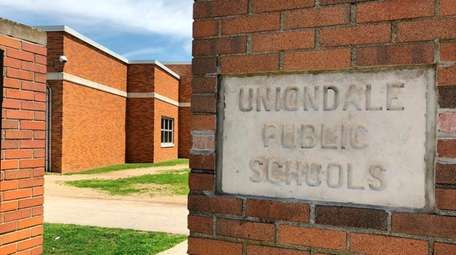 The entrance to Uniondale High School on Monday.