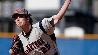 MacArthur's starting pitcher Brandon Buchan (25) delivers a