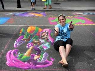 The commercial illustrator and chalk artist is a