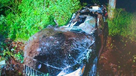 The scene of the Maserati crash upstate Sunday