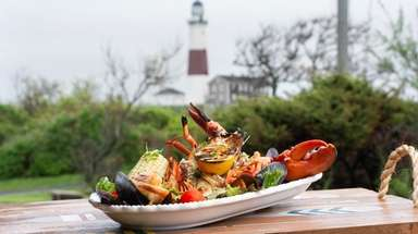 The lobster platter as served at George's Lighthouse