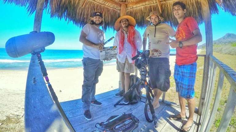 Brian Adamkiewicz and his film crew in Puerto