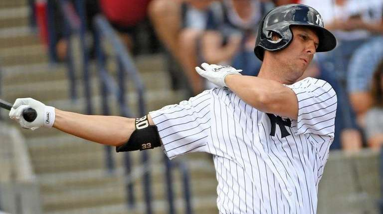 Yankees first baseman Greg Bird bats during a