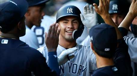 Gleyber Torres of the Yankees celebrates his two-run