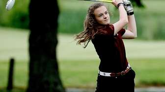 Southampton's Caraline Oakley tees off at the fifth