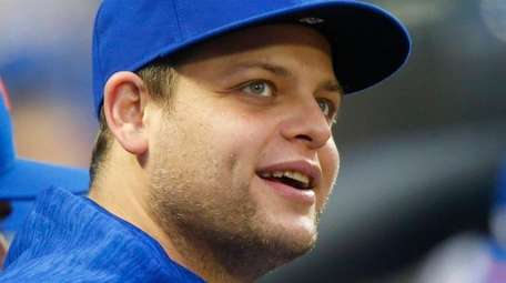 Devin Mesoraco of the Mets looks on from