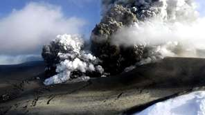 An erupting volcano in southern Iceland's Eyjafjallajokull glacier