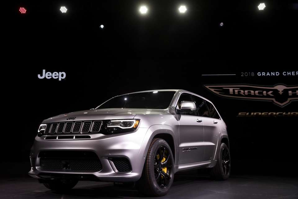 The 2018 Jeep Cherokee Trackhawk is displayed at
