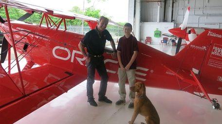 Pilot Sean D. Tucker and his dog, Levi,