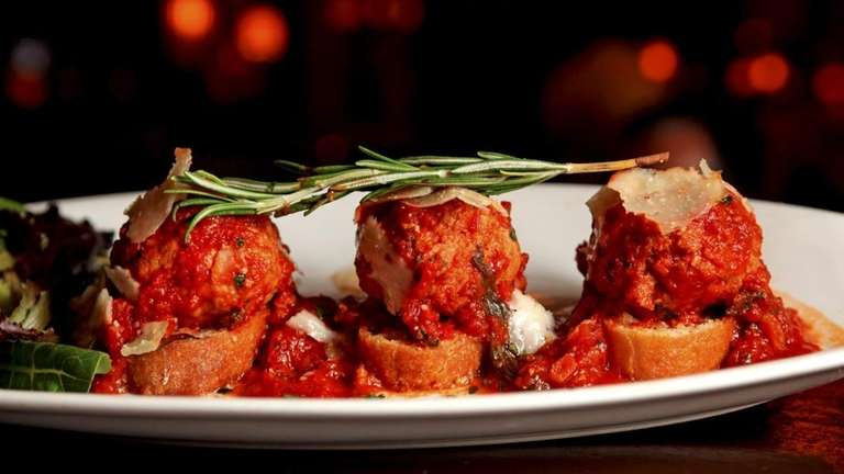 An appetizer of stuffed meatballs is served at