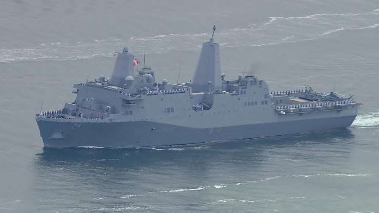 A mini-armada glided into New York Harbor on