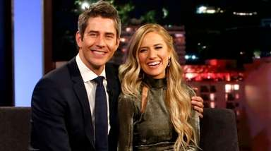 Arie Luyendyk Jr. and Lauren Burnham appear on