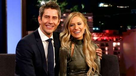 Arie Luyendyk Jr. and fiancee Lauren Burnham appear