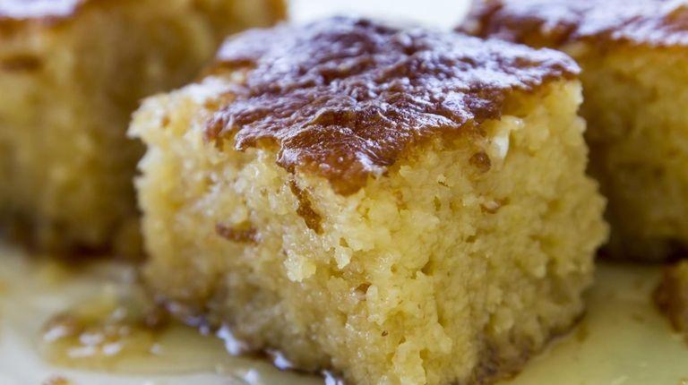 Ravani is orange-flavored sponge cake with syrup.