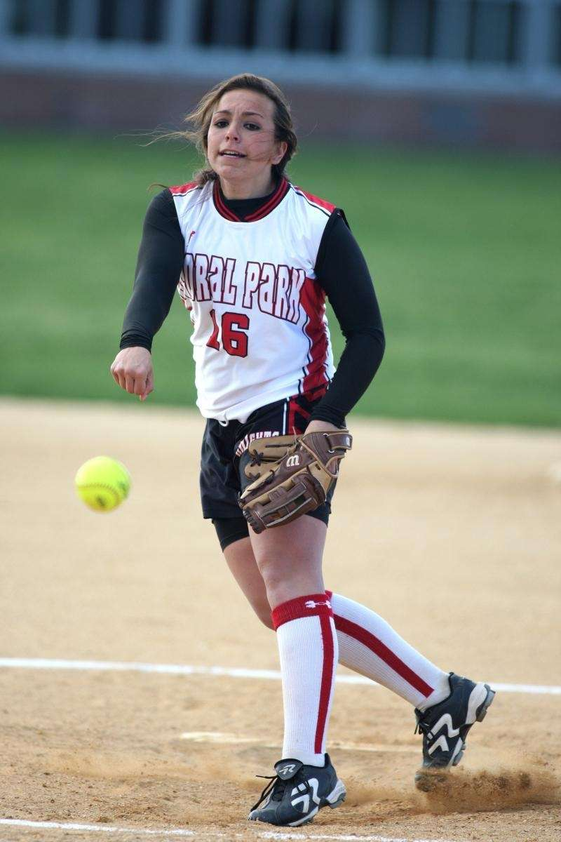 Floral Park's Samantha Giovaniello pitches during her team's