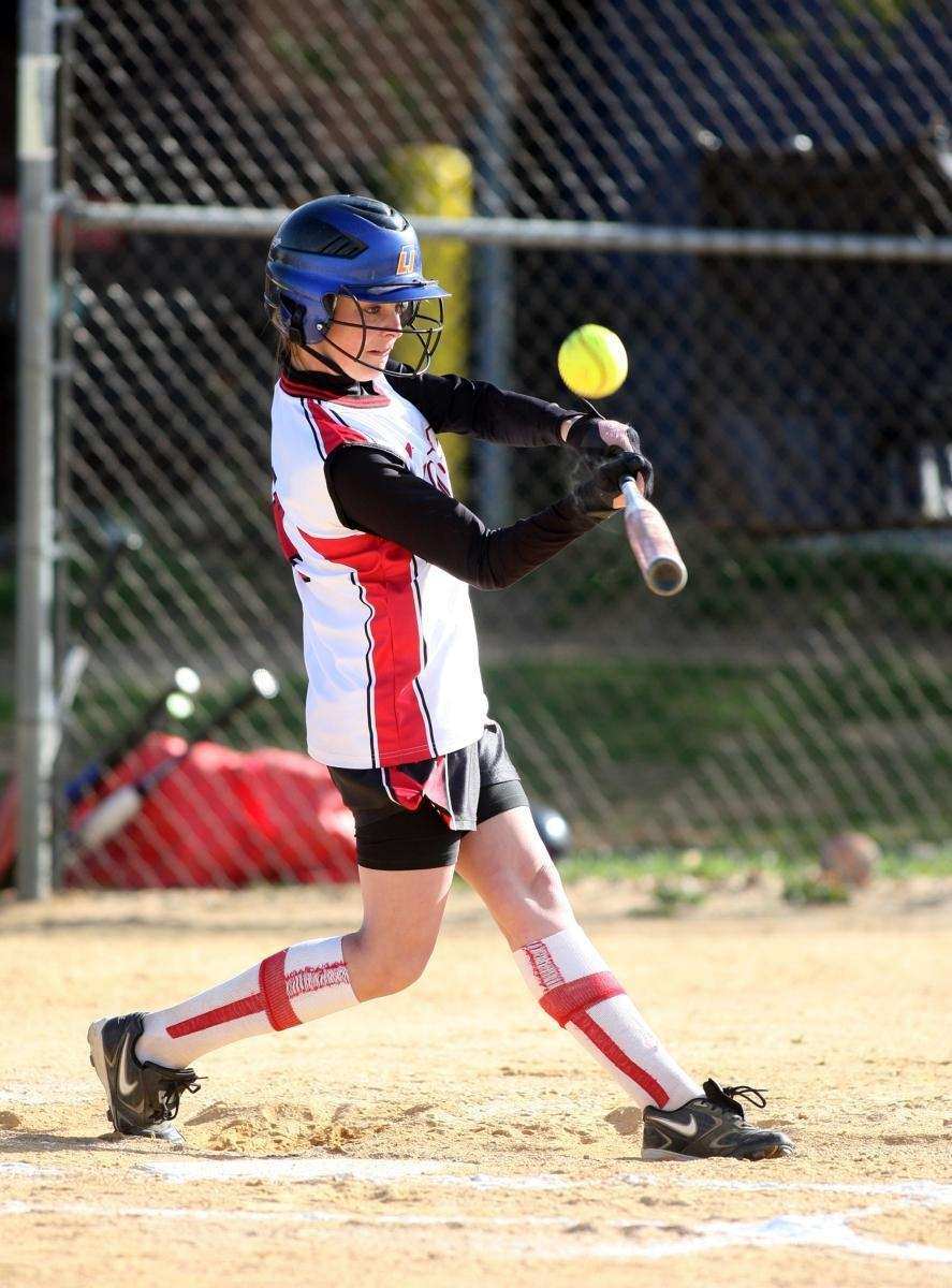 Floral Park's Kristina Santoro fouls a pitch off